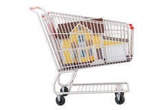 House in shopping cart, 3D rendering. House in shopping cart isolated on white background Royalty Free Stock Images