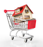 House in shopping-cart with euro bills Royalty Free Stock Images