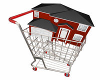 House in Shopping Cart Home Buyer Seller Real Estate Royalty Free Stock Photography