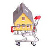 House in shopping cart isolated Stock Image