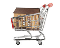House in a shopping cart Royalty Free Stock Images