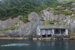 House on the shore of the fjord Stock Photography