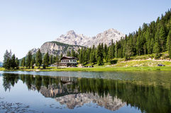 House on a shore of a lake. House on a lake shore with mountain in the back Royalty Free Stock Images