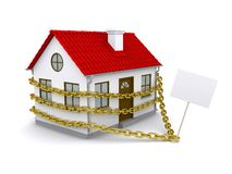 House with a sign enmeshed gold chain Royalty Free Stock Photography
