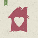 House sign with heart on paper texture Royalty Free Stock Images