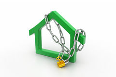 House  sign locked in chain and padlock Royalty Free Stock Images
