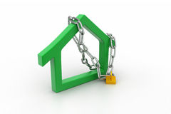 House  sign locked in chain and padlock Stock Photography