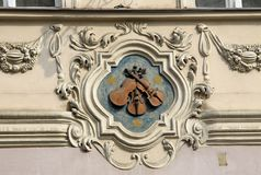 House sign in Mala strana Lesser town in PRAGUE, CZECH REPUBLIC. PRAGUE, CZECH REPUBLIC - APRIL 23, 2013: House sign in Mala strana Lesser town Stock Photos