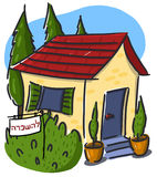 House for rent illustration; Sign for rent in Hebr Stock Image