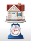 House sign on scale pan Royalty Free Stock Image