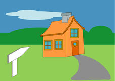 House and Sign Toon Royalty Free Stock Images