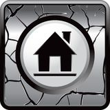 House silhouette on gray cracked web button Royalty Free Stock Photo