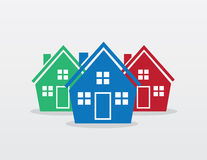 House Silhouette Group Colors Royalty Free Stock Photography