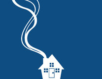 House Silhouette Minimal Blue Royalty Free Stock Images
