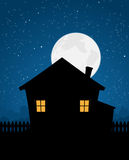 House Silhouette In Starry Night Stock Images