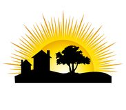 House Silhouette Sun Stock Photos