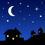 House Silhouettes with Starry Sky Royalty Free Stock Photography