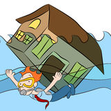 House Sinking. An image of a person swimming with a house that is sinking in water stock illustration