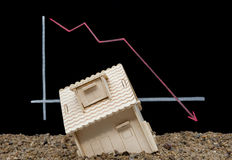 House sinking with a downward arrow Stock Images