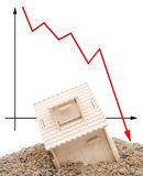 House sinking with a downward arrow Royalty Free Stock Images