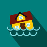 House sinking in a water icon, flat style. House sinking in a water icon in flat style on a blue background Royalty Free Stock Photo