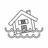 House sinking in a water icon, outline style Royalty Free Stock Photo