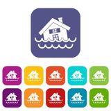 House sinking in a water icons set. Vector illustration in flat style In colors red, blue, green and other royalty free illustration