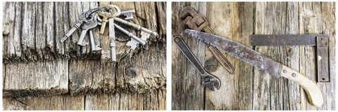 House skeleton keys grunge wood collage. Carpenter saw straight edge wrench skeleton key ring on rotten background texture wooden board Stock Photo