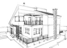 House sketch. Sketch of a residential house on white background Stock Photos