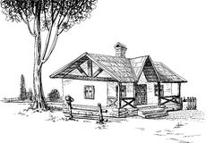 House sketch. Hand drawn traditional house and yard Royalty Free Stock Photo