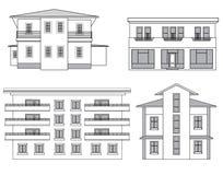 House sketch collection. Building facade set. Royalty Free Stock Photography