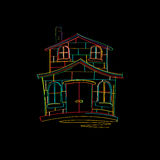 House sketch. In colors over black background Royalty Free Stock Photography