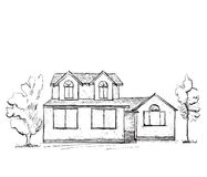 House sketch. Hand drawn landscape Stock Photo