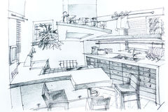 House sketch with pencil Royalty Free Stock Photography
