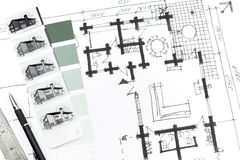 House sketch with tools Royalty Free Stock Photos
