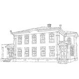 House sketch two-storey wooden house Ulyanov Lenin Royalty Free Stock Images