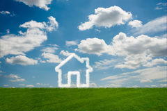 The house in the sky made of clouds - 3d rendering. House in the sky made of clouds - 3d rendering Royalty Free Stock Photos
