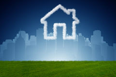 The house in the sky made of clouds - 3d rendering. House in the sky made of clouds - 3d rendering Stock Photography
