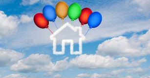 The house in the sky made of clouds - 3d rendering. House in the sky made of clouds - 3d rendering Royalty Free Stock Image