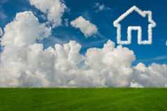 The house in the sky made of clouds - 3d rendering. House in the sky made of clouds - 3d rendering Royalty Free Stock Photography