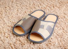 House slippers on a carpet. Royalty Free Stock Photography