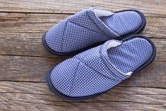 House slippers on  wooden floor Stock Photo
