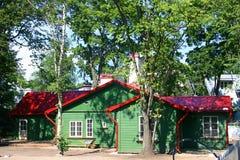 House small a green garden stock photos