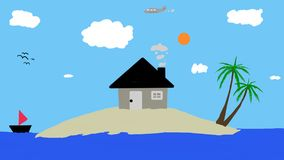 House on a small island Stock Photo