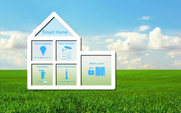 House with a smart home system on a background of green grass an stock image