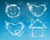 House, smile, cloud heart. illustration. against the sky Royalty Free Stock Images
