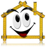 House Smiling - Wood Meter Tool Stock Photography