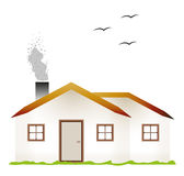 House and smoking chimney. Houses and smoking chimney with three birds on white background Royalty Free Stock Photography