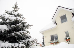 House with snow Royalty Free Stock Photo