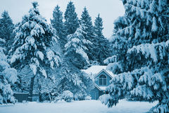 House in the snow. On a cold morning Stock Photo